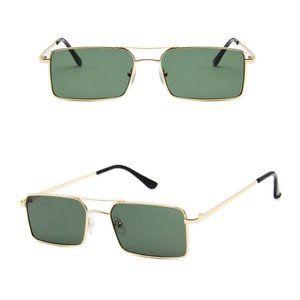 Retro Square Aviators Vintage Style Sunglasses GREEN